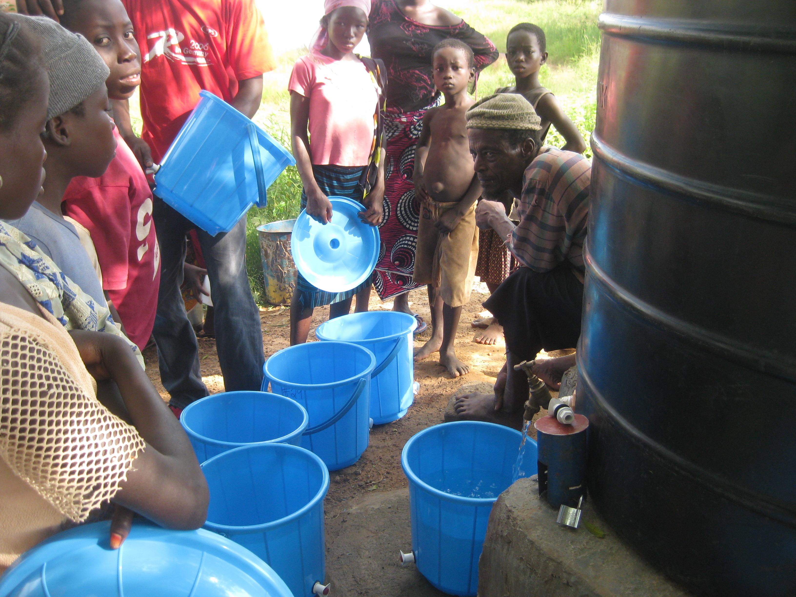 Alhassan selling water on opening day at Jarigu