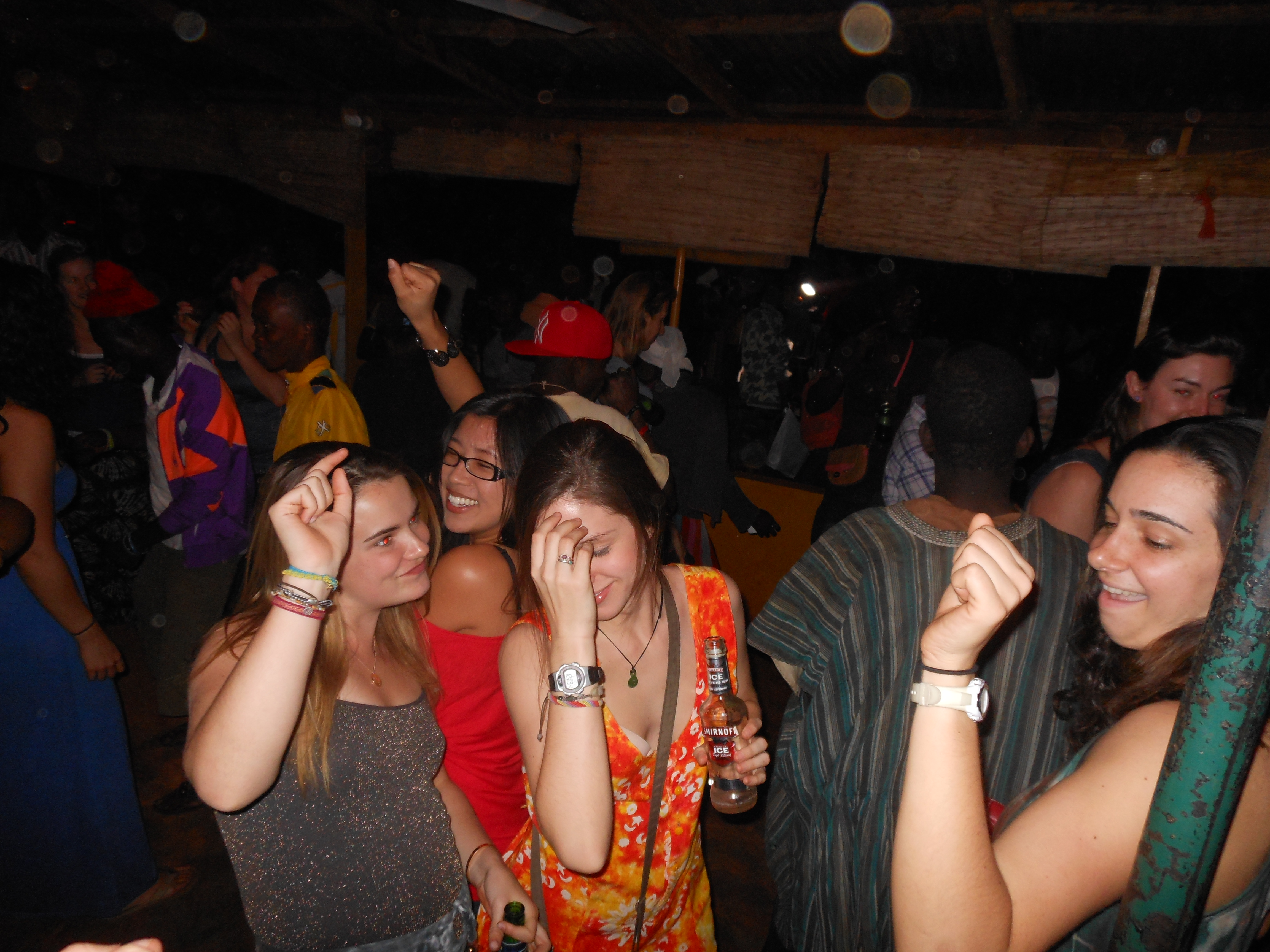 Alexa, Linda, Julia, and Emily getting their groove on at Sparkles