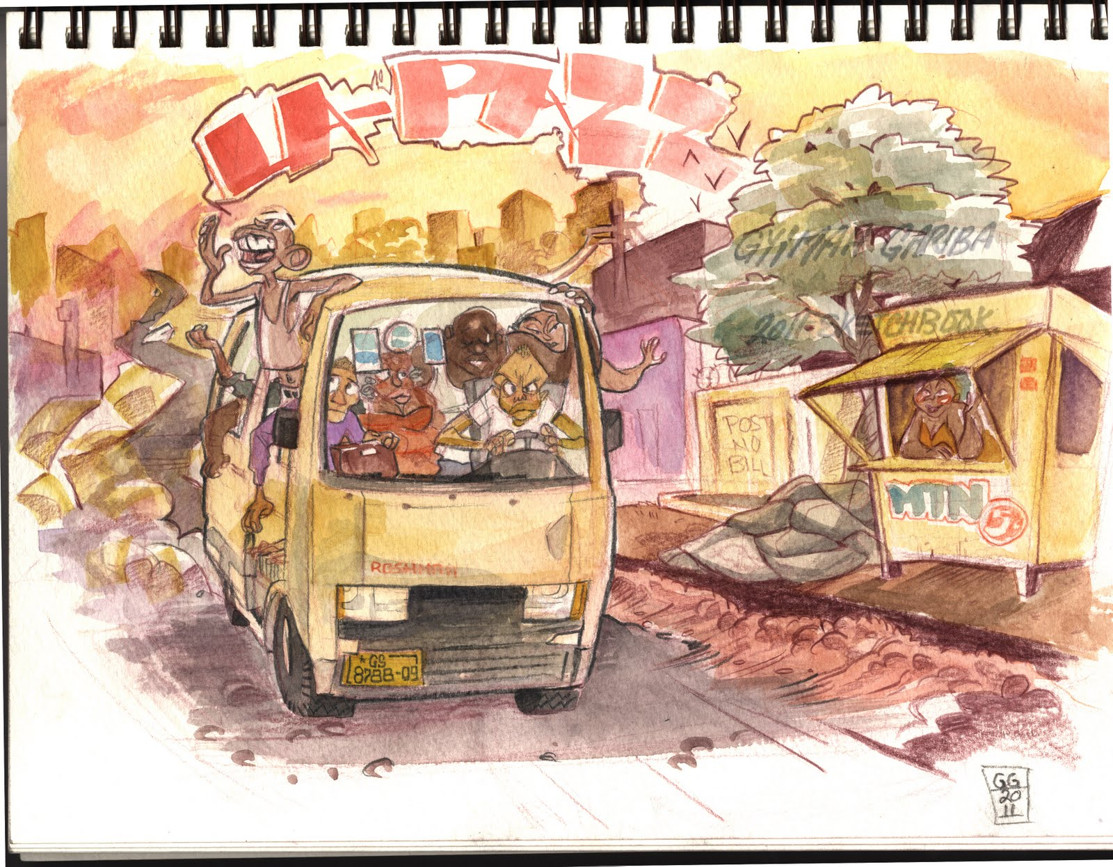 Accra-based artist Gyimah Gariba takes on the trotro. This be Ghana, oh! http://ggariba.blogspot.com/2011/01/this-be-ghanano-problem.html