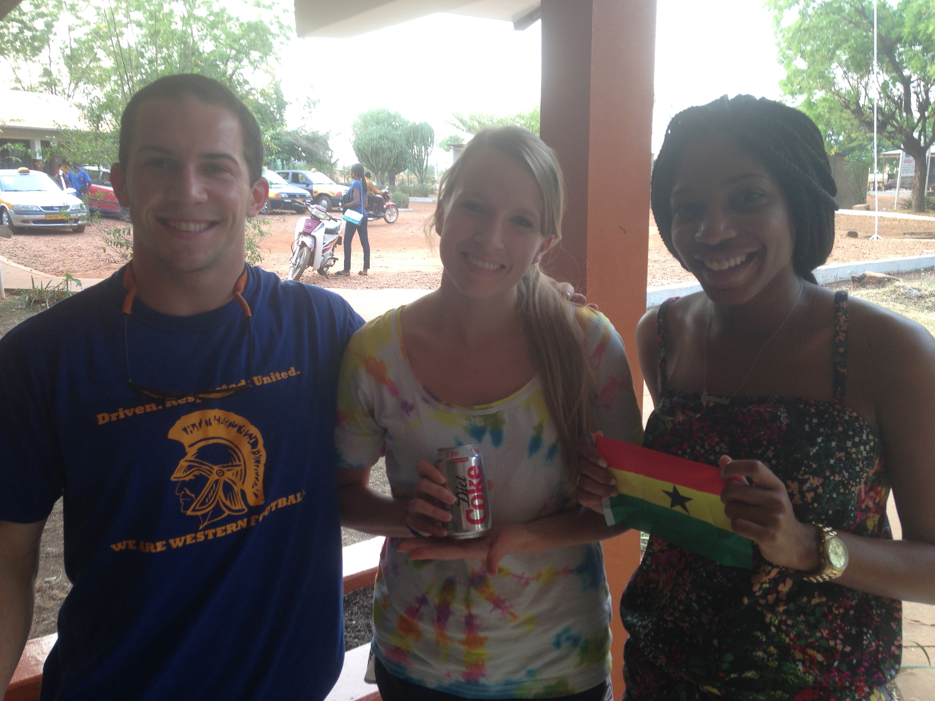 Bryan, Meghan, and Jazmin with the most coveted item on the scavenger hunt list: diet coke!