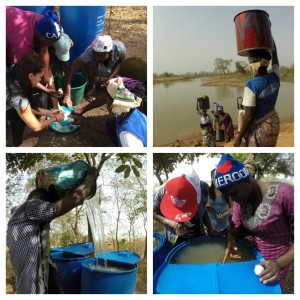 The treatment process - Ademu, Sikina and Jamila collect and treat dugout water with alum to reduce turbidity