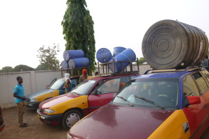 Taxis loaded down with supplies