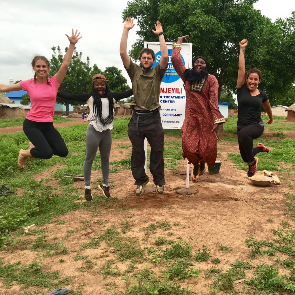Kelsea, Lucy, Bill, Sita and Diana in the community of Kanjeyili