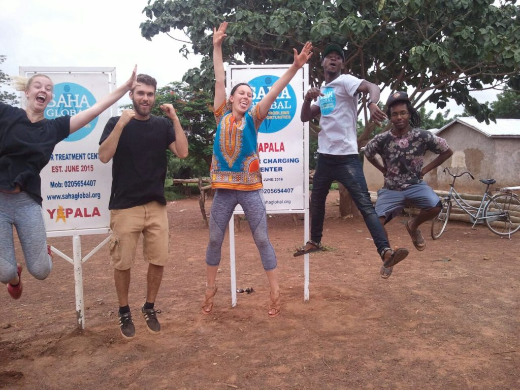 Rachel, Ryan, Kristen, Wahab and Kevonté in the community of Yapala