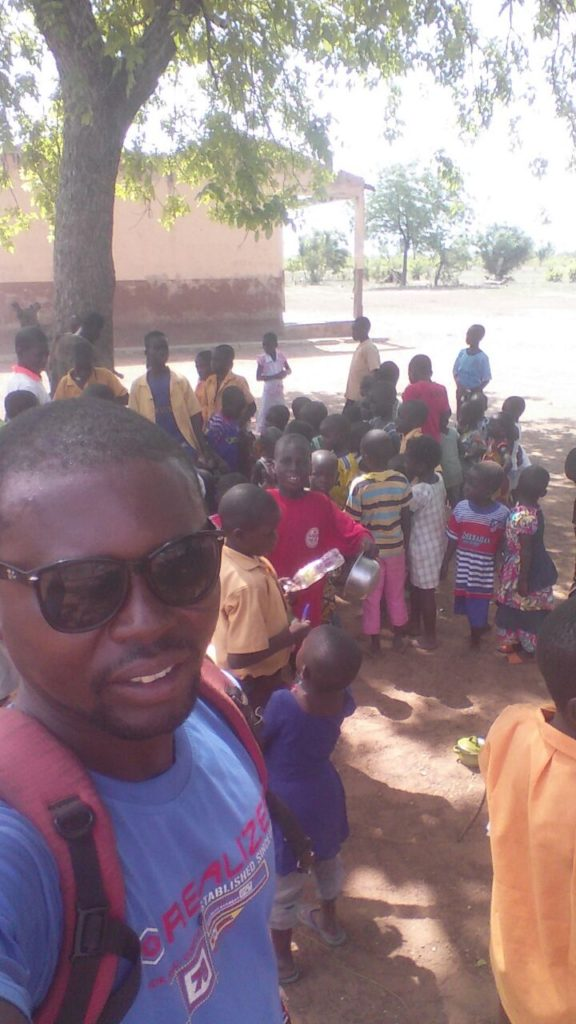 """""""School vacations at Kpanshegu - I once again reminded students to drink from the clean water when they are back home and re-educate their friends and family"""" - Amin monitors during April"""